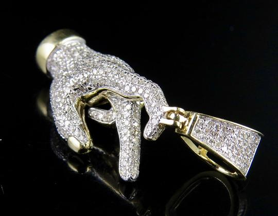 Jewelry Unlimited 10K Yellow Gold 3D East Side Hand Throwing Signs Diamond Charm Pendant