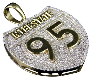 Jewelry Unlimited 10K Yellow Gold 95 Interstate Highway Sign Real Diamond Charm Pendant