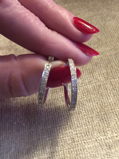 14 Carat and Diamond Hoops White Gold and Diamond Hoop Earrings