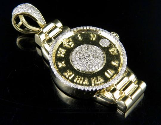 Jewelry Unlimited 10K Yellow Gold Crown Presidential Wrist Watch Diamond Charm Pendant