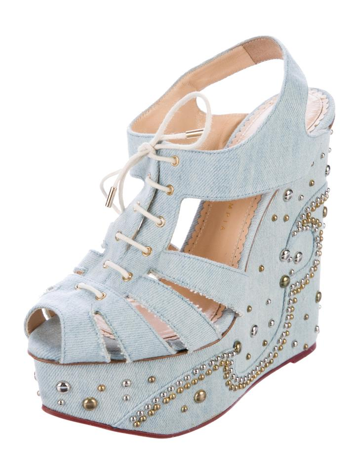 c40d1cfd1 Charlotte Olympia New Gene Studded Denim Wedge 10 Sandals Size EU 40 ...