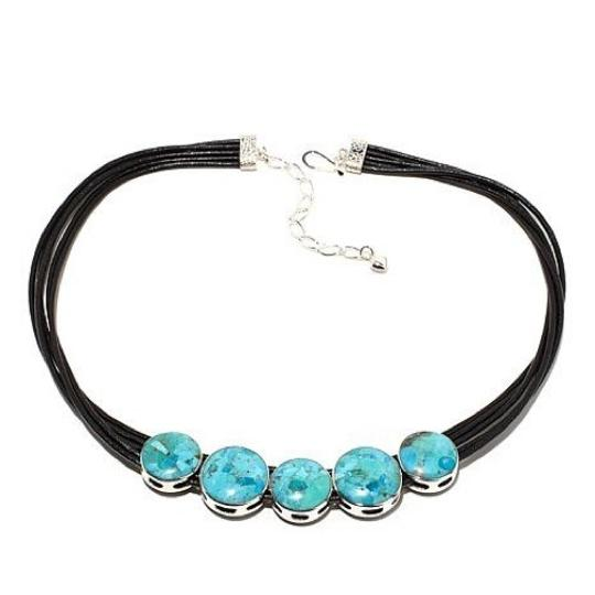 Preload https://img-static.tradesy.com/item/22650947/mine-finds-by-jay-king-blue-reversible-turquoise-calsilica-leather-necklace-0-0-540-540.jpg
