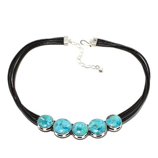Mine Finds by Jay King Reversible Turquoise Calsilica Leather necklace