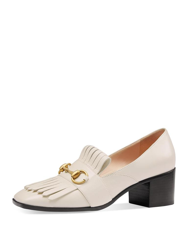 db0ee804c577 Gucci Polly 55 Horse Bit Block Heels Size 37.5 Mystic White Pumps Image 0  ...
