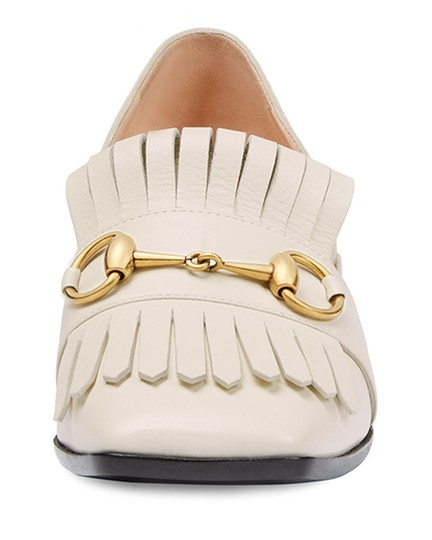 Gucci Polly 55 Horse Bit Block Heels Size 38.5 Mystic White Pumps