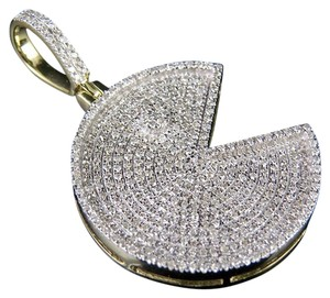Jewelry Unlimited 10K Yellow Gold Round PacMan Doodle Emoji Real Diamond Charm Pendant