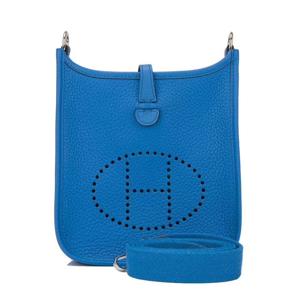 f79c0550c6c0 Hermès Evelyne Clemence Tpm Blue Zanzibar Leather Cross Body Bag ...
