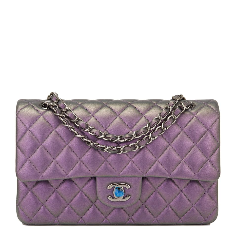 40500bd5737a Chanel Flap Mermaid Quilted Medium Classic Doubl Iridescent Purple ...