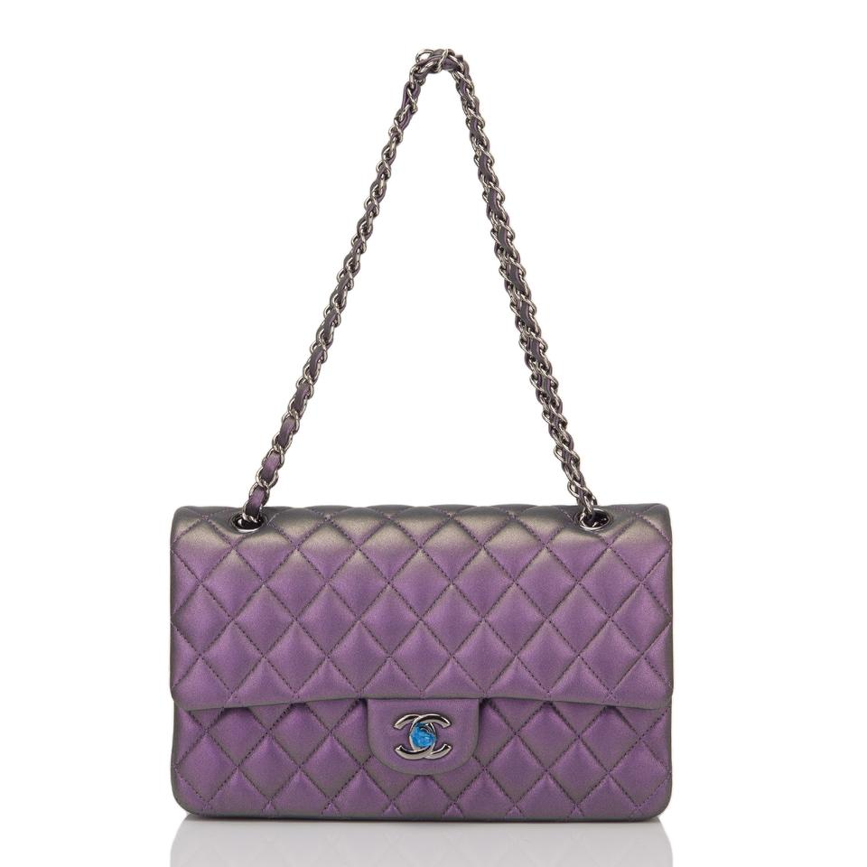 9df751b1a3ad97 Chanel Flap Mermaid Quilted Medium Classic Doubl Iridescent Purple ...
