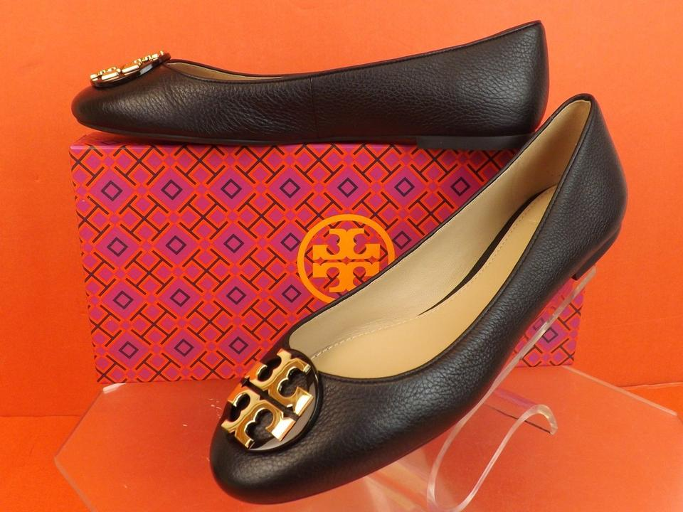 30f5a5a28 Tory Burch Black Claire Tumbled Leather Gold Tone Reva Ballet Flats ...