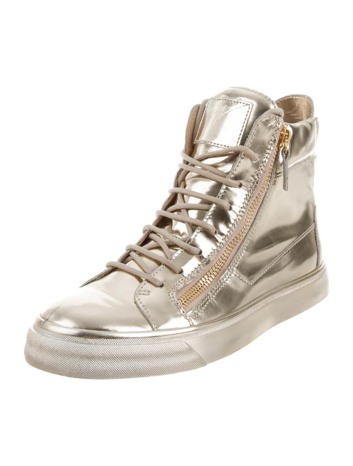 7de45411b5041 Giuseppe Zanotti Metallic Gold New Mirror Leather High Top 9 Sneakers