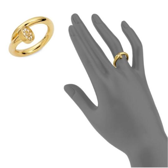 CC SKYE Gold Plated SHWAYZE Twisted Nail Pave Crystal Celebrity Ring