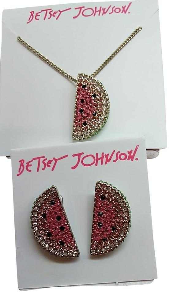 13baac39b9b9f Betsey Johnson Pink and Silver New Watermelon Necklace Earrings 19% off  retail