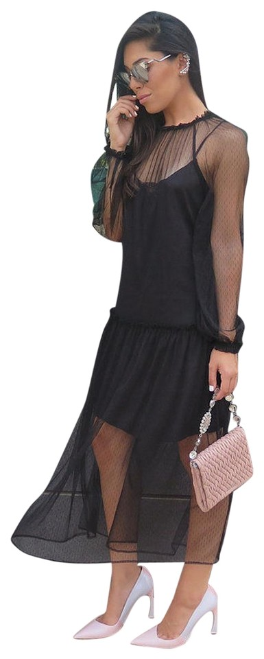Zara Black Sleeve Tunic With Lace Overlay Long Cocktail Dress Size 6