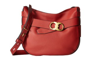 Tory Burch Red Leather Shoulder Hobo Bag