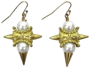 Fallon FENTON Gold Gilded Baroque VERSAILLES Pearl Studded Drop Earrings