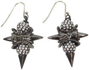 Fallon FENTON Gunmetal Silver VERSAILLES Pave Crystal Studded Drop Earrings