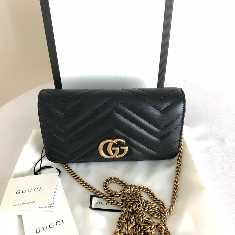 51b5e5137e87f Gucci Marmont - Gg Mini Black Leather Shoulder Bag - Tradesy
