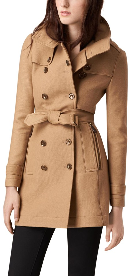 ec809a692 Burberry Camel Daylesmoore Short Double Wool Twill Coat Size 4 (S) 25% off  retail