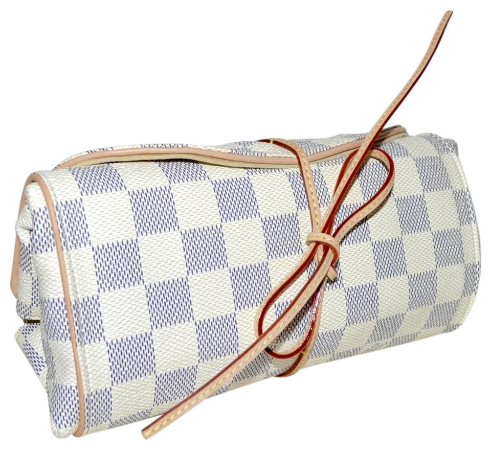 Louis Vuitton Roll Up Jewelry Case Damier Azur Leather Weekend Travel Bag