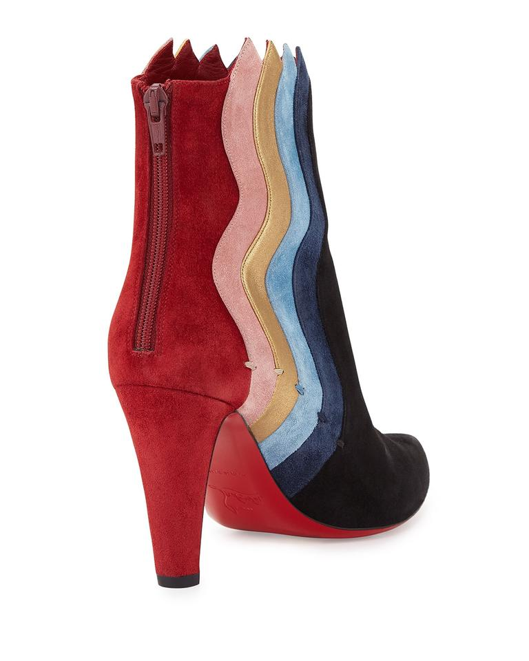 e705f5fe723 Christian Louboutin Red Black Blue Gold Pink Wavy Colorblock Suede ...