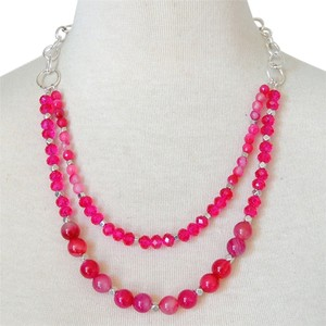 Handmade New Fuchsia Agate 2 Strand Chain Necklace