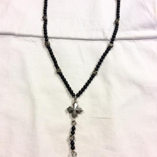 King Baby ONYX BEAD ROSARY WITH SKULL, ROSES & CROSS NECKLACE
