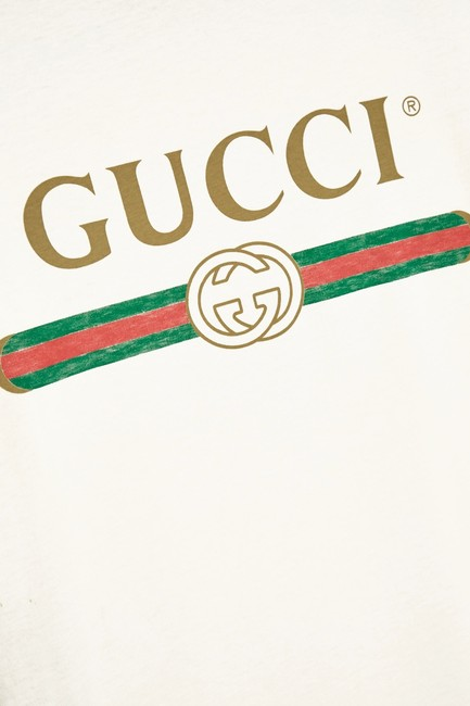 Gucci Logo Print Embroidered Vintage T Shirt White