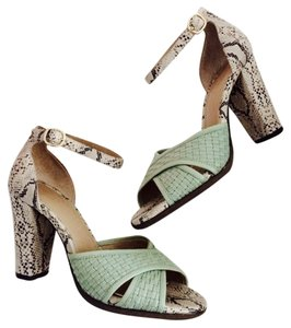 Banana Republic Statement Cute Chunky Heel Size 6 Lizard Snake Skin Pumps