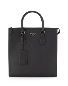 Prada Saffiano Leather Zip-top Polished Steel Rolled Handles Tablet Pocket Tote in Navy