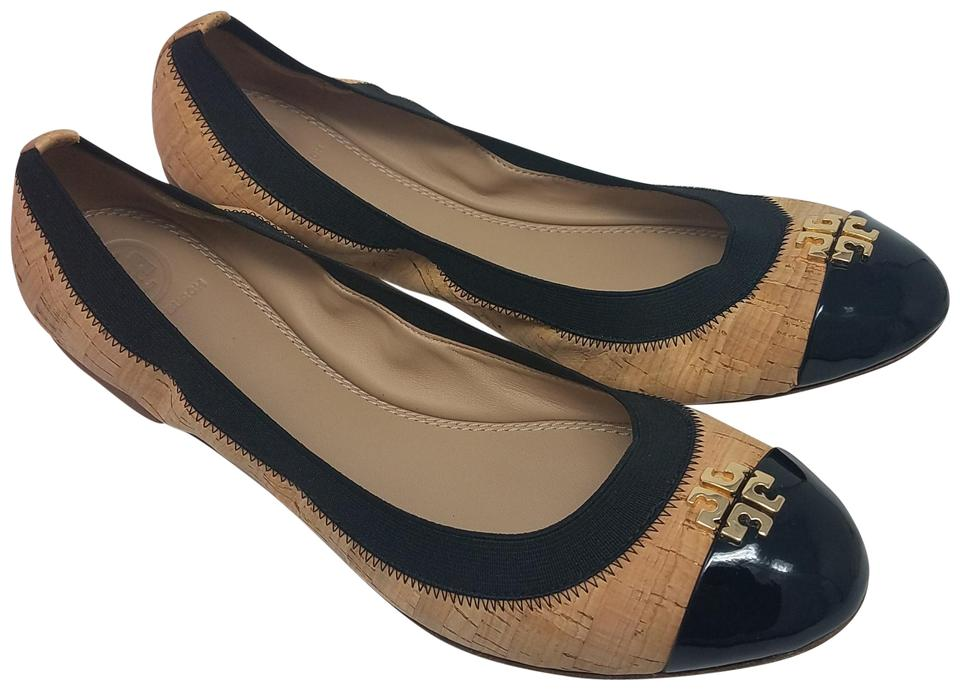 be3b370dc87 Tory Burch Beige Gold Black Tan Cork Jolie Ballet Flats Size US 8.5 ...