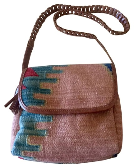 Marco Avane Vintage Kilim Festival Wool Leather Zip Top Shoulderbag Boho Lined Aztec Music Cross Body Bag