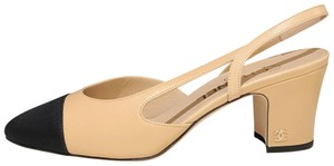 Chanel Slingbacks Two Tone Cc Slingback Size 39 Beige Black Pumps