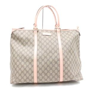 Gucci Boston Keepall Gym Weekend Duffle Tote in Beige and Brown GG