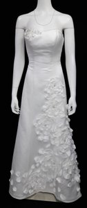 Galina Soft White Satin Strapless 3d Floral Gown W/ Train Wg3086 Modern Wedding Dress Size 2 (XS)