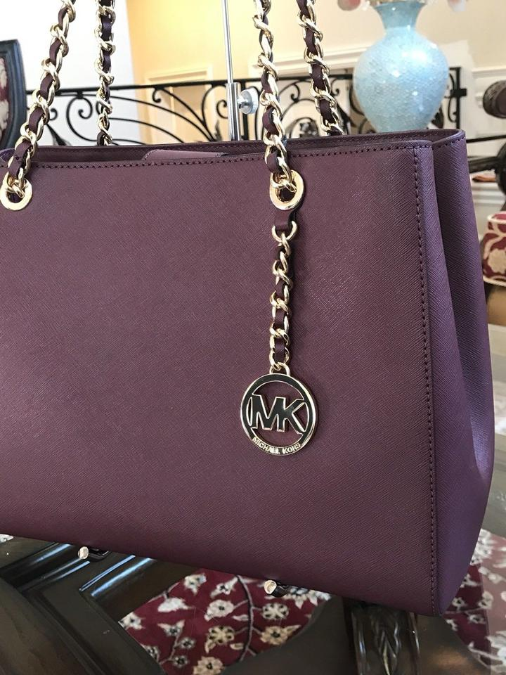 Michael Kors Susannah Large Tote Leather Plum Bag And Wallet