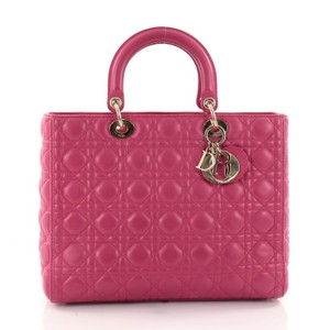 Dior Christian Lady Lambskin Tote in Pink