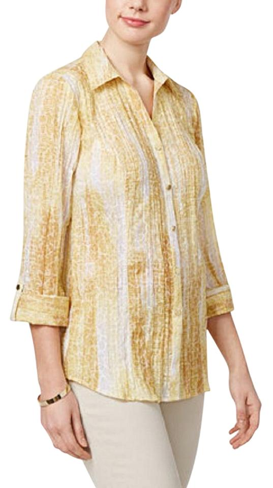 3bc4da667ceafd JM Collection Yellow Crinkle Woven Blouse Size 22 (Plus 2x) - Tradesy