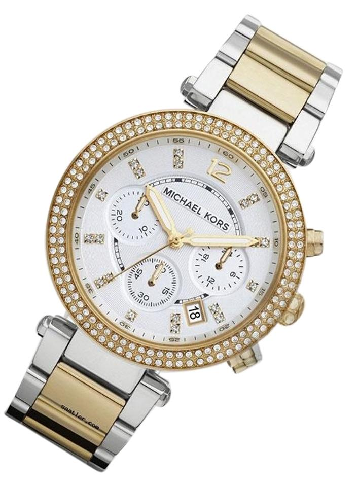 b638b7fe6011 Michael Kors Gold Silver New Parker Glitz Dial Two-tone Ladies Mk5626 Watch