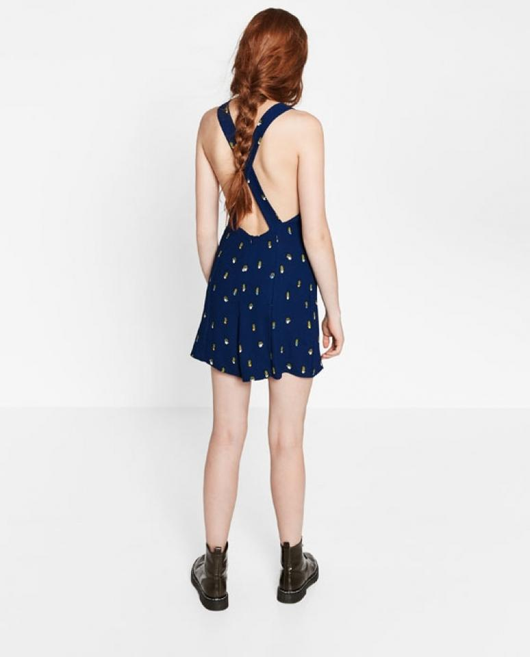 d38d8b12b5fa Zara Cactus Print Navy Blue Short Open Back Crossover Wide Straps ...