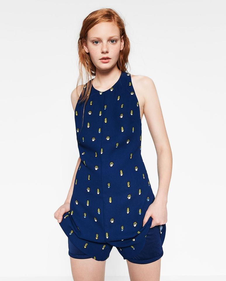 8f02a47d2424 Zara Cactus Print Navy Blue Short Open Back Crossover Wide Straps ...