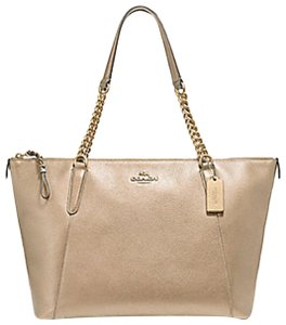 Coach Chain Leather Platinum Tote in Metallic Pale Gold