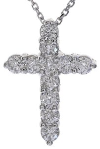 "Avital & Co Jewelry 0.90 Carat Round Diamond Cross on 16"" Cable Chain 14K White Gold"