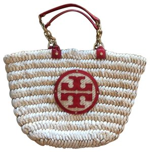 Tory Burch Coral and Tan Beach Bag