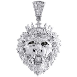 Jewelry For Less Diamond King Crown Lion Head .925 Sterling Silver Charm 0.36ctw