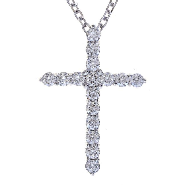 """Item - White Gold 2.25 Carat Round Diamond Cross On 20"""" Cable Chain 14k Necklace"""