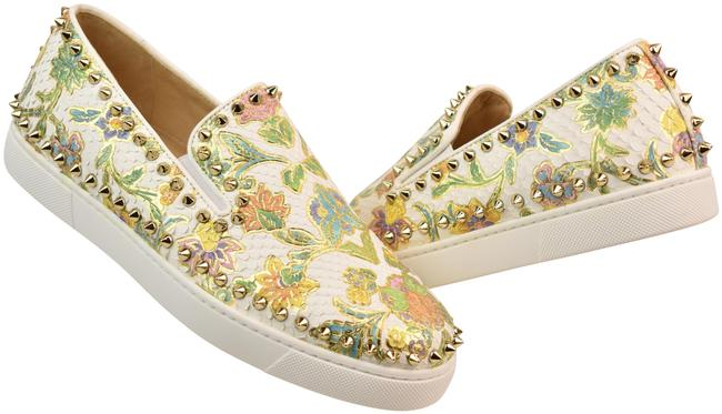 Item - Multi-color Pik Boat White Floral Python Leather Spikes Sneakers Flats Size EU 40.5 (Approx. US 10.5) Regular (M, B)