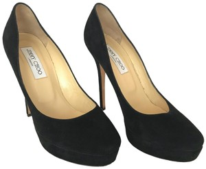 Jimmy Choo Stiletto Suede Round Toe Pump Black Platforms