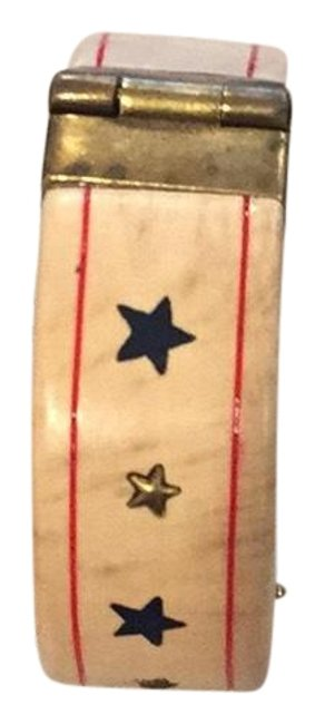 Item - Light Wood with Navy Blue and Gold Stars with Red Stripes Across The Top and Bottom Cuff Bracelet