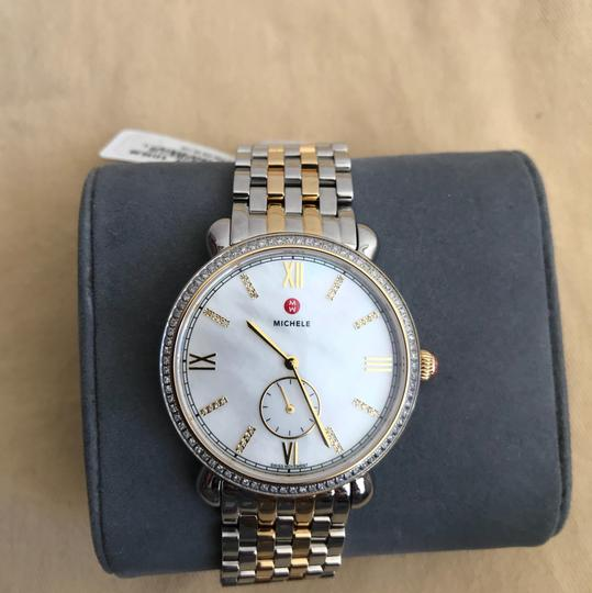 Michele $2200 NWT Gracile Two Tone Gold Diamond Watch MWW26A000003